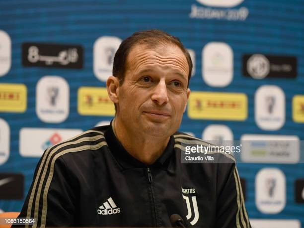 Head coach Juventus Massimiliano Allegri speaks with the media during a press conference on January 15 2019 in Jeddah Saudi Arabia