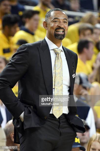 Head coach Juwan Howard of the Michigan Wolverines looks on during a basketball game against the Creighton Bluejays at the Crisler Center on November...