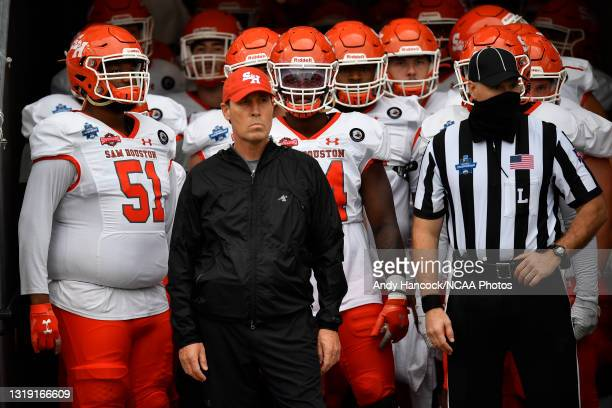 Head coach K. C. Keeler of the Sam Houston State Bearkats before the game against the South Dakota State Jackrabbits during the Division I FCS...