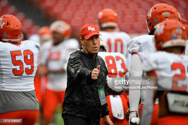 Head coach K. C. Keeler of the Sam Houston State Bearkats during warm ups before the game against the South Dakota State Jackrabbits during the...