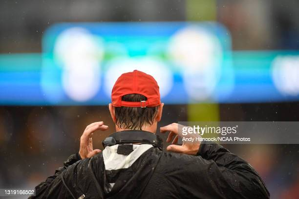 Head coach K. C. Keeler of the Sam Houston State Bearkats looks on from the sidelines against the South Dakota State Jackrabbits during the Division...