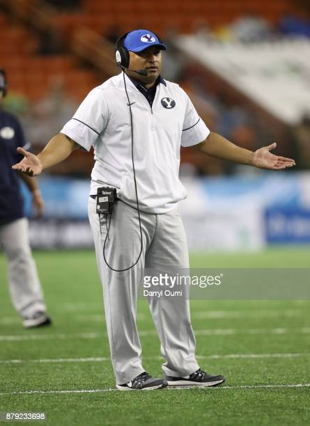 Head coach Kalani Sitake of the BYU Cougars questions a call by the officials during the second half of the game ah at Aloha Stadium on November 25...