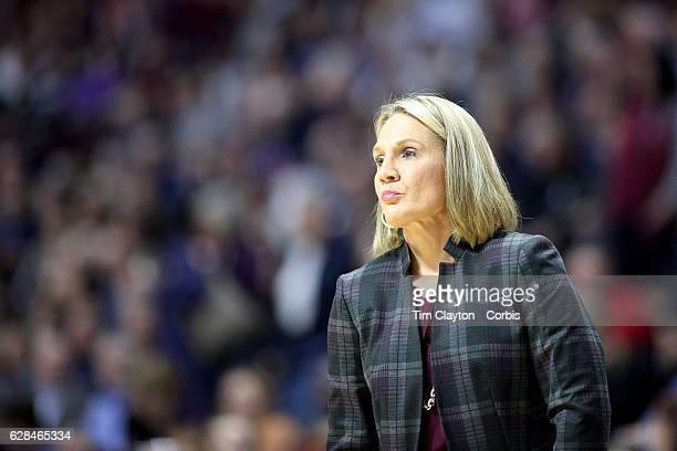 Head coach Karen Aston of the Texas Longhorns during the UConn Huskies Vs Texas Longhorns NCAA Women's Basketball game in the Jimmy V Classic on...