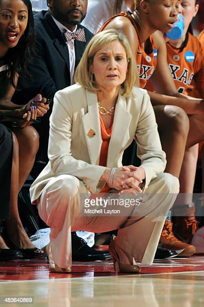 Head coach Karen Aston of the Texas Longhorns looks on during the NCAA Women's Second Round Basketball Tournament against the Maryland Terrapins on...