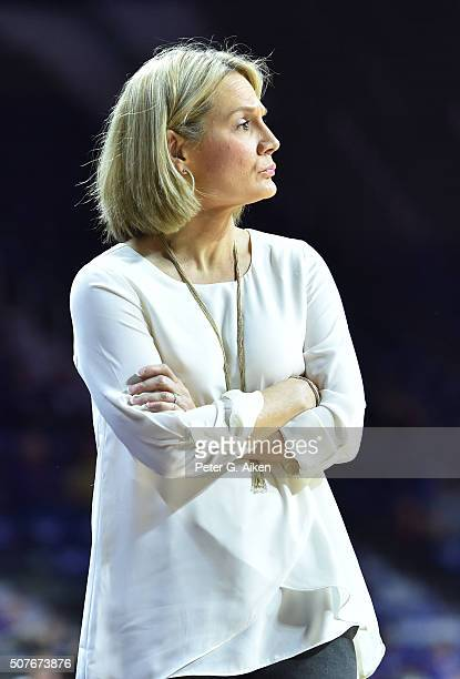 Head coach Karen Aston of the Texas Longhorns looks on from the sidelines against the Kansas State Wildcats during the second half on January 30 2016...