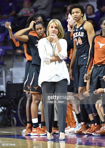 Head coach Karen Aston of the Texas Longhorns looks on from the sidelines against the Kansas State Wildcats during the first half on January 30 2016...