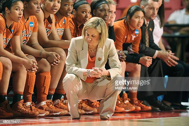 Head coach Karen Aston of the Texas Longhorns reacts to a play during the NCAA Women's Second Round Basketball Tournament against the Maryland...