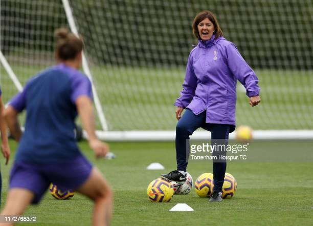 Head Coach Karen Hills during the Tottenham Hotspur Women training session at Tottenham Hotspur Training Ground on September 06 2019 in Enfield...