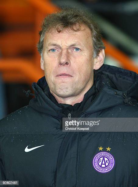 Head coach Karl Daxbacher of Austria looks on prior to the UEFA Europa League Group L match between Werder Bremen and Austria Wien at the Weser...