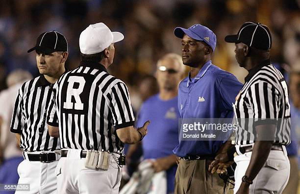 Head Coach Karl Dorrell of the UCLA Bruins argues with referres during his teams' 2117 win over the Washington Huskies in their PAC10 NCAA Game game...