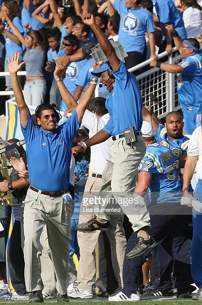 Head coach Karl Dorrell of the UCLA Bruins celebrates a touchdown in the second half against the California Golden Bears at the Pasadena Rose Bowl...