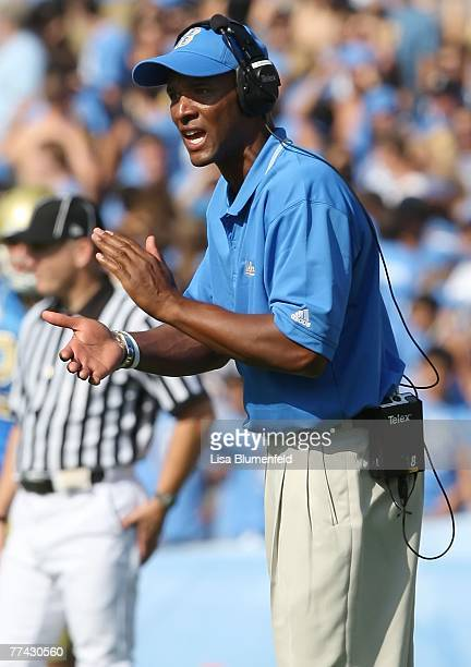 Head coach Karl Dorrell of the UCLA Bruins celebrates during the game against the California Golden Bears at the Pasadena Rose Bowl October 20 2007...