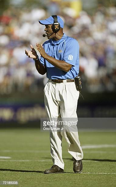 Head coach Karl Dorrell of the UCLA Bruins encourages the team during the game against the Washington Huskies on September 23 2006 at Husky Stadium...