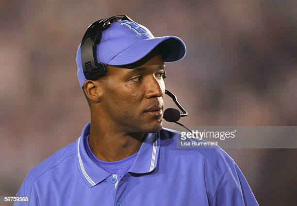 Head coach Karl Dorrell of the UCLA Bruins looks on against the University of California Golden Bears on October 8 2005 at the Rose Bowl in Pasadena...