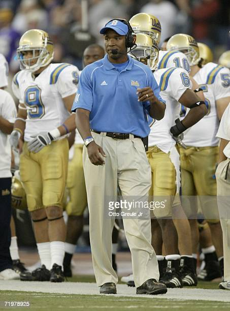 Head coach Karl Dorrell of the UCLA Bruins reacts after the Washington Huskies scored on an interception in the fourth quarter on September 23 2006...