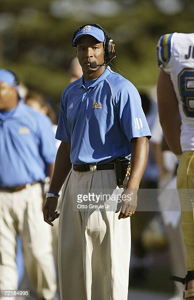Head coach Karl Dorrell of the UCLA Bruins stands on the sideline during the game against the Washington Huskies on September 23 2006 at Husky...