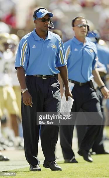 Head coach Karl Dorrell of the University of California Los Angeles Bruins watches the game against the University of Oklahoma Sooners at Memorial...
