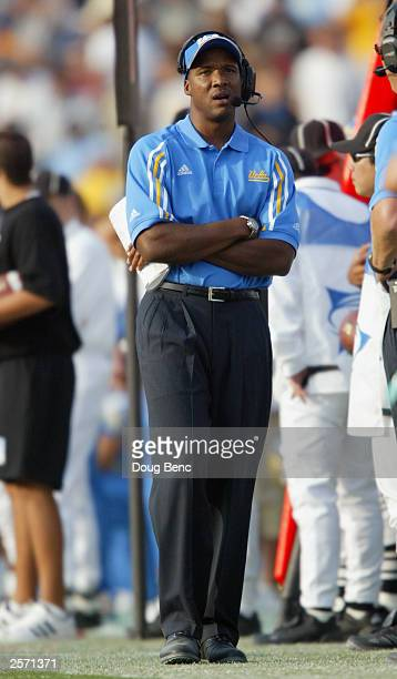 Head coach Karl Dorrell of the University of California Los Angeles Bruins stands on the sidelines during the game against the University of...