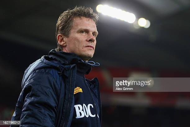 Head coach Karsten Neitzel of Bochum looks on prior to the DFB Cup Quarter Final match between VfB Stuttgart and VfL Bochum at the Mercedes-Benz...