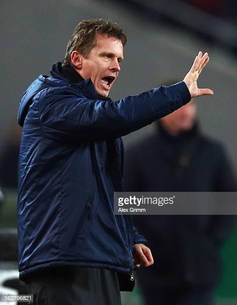 Head coach Karsten Neitzel of Bochum reacts during the DFB Cup Quarter Final match between VfB Stuttgart and VfL Bochum at the Mercedes-Benz Arena on...