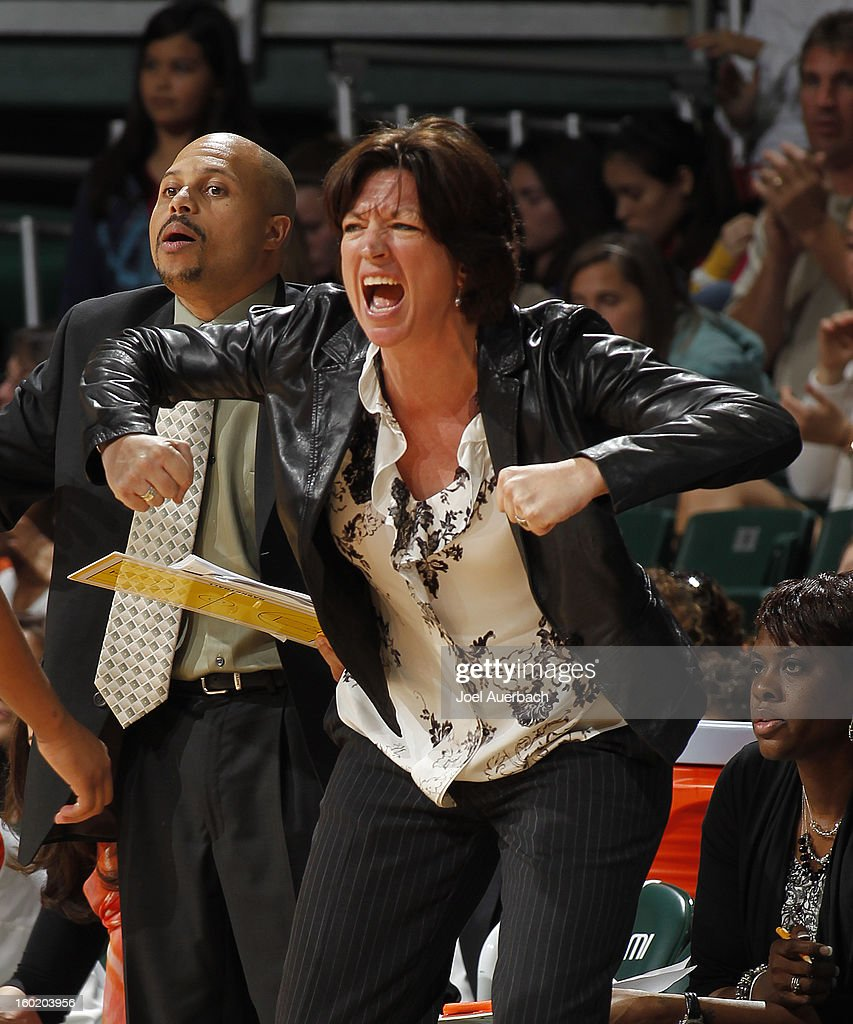 Head coach Katie Meier of the Miami Hurricanes reacts to game action by the North Carolina Tar Heels during the final ten seconds of the game on January 27, 2013 at the BankUnited Center in Coral Gables, Florida. The Tar heels defeated the hurricanes 64-62.