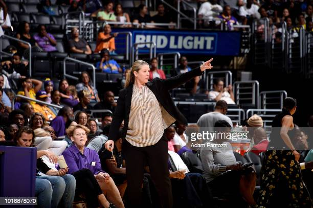 Head Coach Katie Smith of the New York Liberty reacts during the game against the Los Angeles Sparks on August 14 2018 at Staples Center in Los...