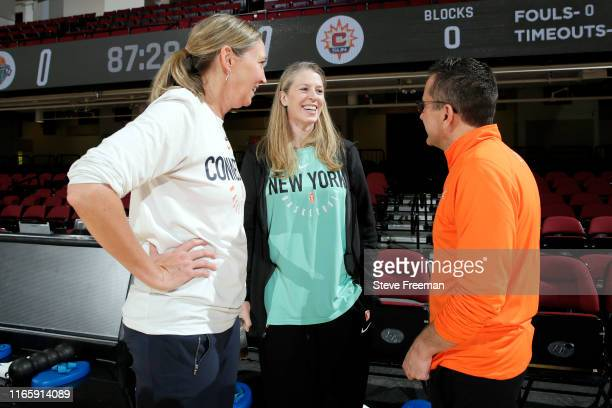 Head Coach Katie Smith of the New York Liberty talks to Brandi Poole and Curt Miller of the Connecticut Sun on August 30 2019 at the Westchester...