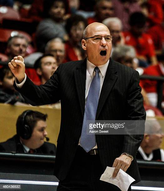 Head Coach Keith Richard of the LouisianaMonroe Warhawks talks to his team from the sidelines during their game against the New Mexico Lobos at The...