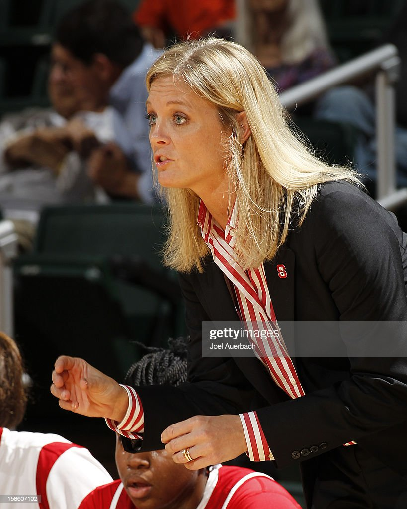 Head coach Kellie Harper of the North Carolina State Wolfpack calls a play during first half action against the Miami Hurricanes on December 20, 2012 at the BankUnited Center in Coral Gables, Florida. The Hurricanes defeated the Wolfpack 79-53.