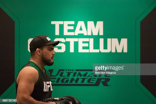 Head Coach Kelvin Gastelum prepares to help Enrique Marin warm up during the filming of The Ultimate Fighter Latin America Team Gastelum vs Team...