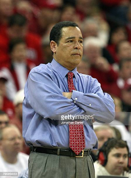 Head coach Kelvin Sampson of the Indana Hoosiers watches the action against the Wisconsin Badgers on January 31 2008 at the Kohl Center in Madison...