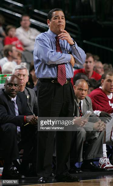 Head Coach Kelvin Sampson of the Oklahoma Sooners watches play against the Nebraska Cornhuskers from the sidelines during the quarterfinals round of...
