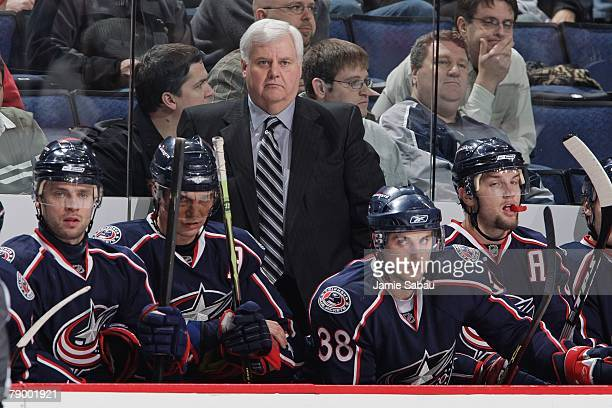 Head Coach Ken Hitchcock of the Columbus Blue Jackets watches the game against the St. Louis Blues from the bench on January 11, 2008 at Nationwide...