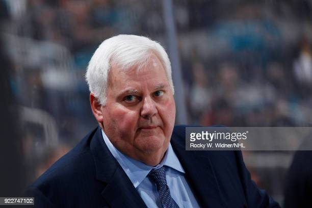 Head coach Ken Hitchcock of the Dallas Stars looks on during the game against the San Jose Sharks at SAP Center on February 18 2018 in San Jose...