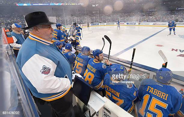 Head coach Ken Hitchcock of the St Louis Blues looks on from behind the bench prior to the 2017 Bridgestone NHL Winter Classic at Busch Stadium on...