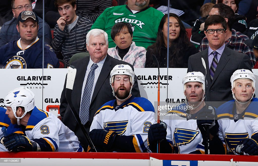 Head coach Ken Hitchcock of the St. Louis Blues watches from the bench during the NHL game against the Arizona Coyotes at Gila River Arena on January 6, 2015 in Glendale, Arizona. The Blues defeated the Coyotes 6-0.