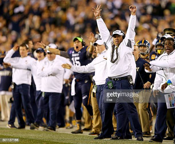Head coach Ken Niumatalolo of the Navy Midshipmen celebrates after an Army Black Knights failed field goal attempt at Lincoln Financial Field on...