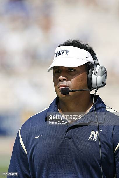 Head coach Ken Niumatalolo of the Navy Midshipmen looks on during the game against the Duke Blue Devils at Wallace Wade Stadium on September 13 2008...