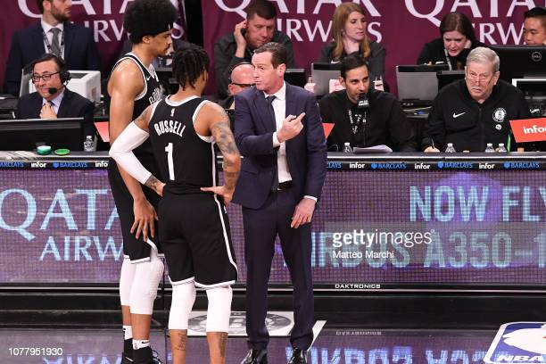 Head Coach Kenny Atkinson Jarrett Allen and D'Angelo Russell of the Brooklyn Nets during the game against the Oklahoma City Thunder at Barclays...