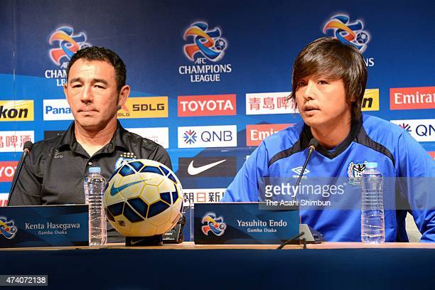 Head coach Kenta Hasegawa and Yasuhito Endo of Gamba Osaka attend a press conference ahead of the AFC Champions League Round of 16 match against FC...