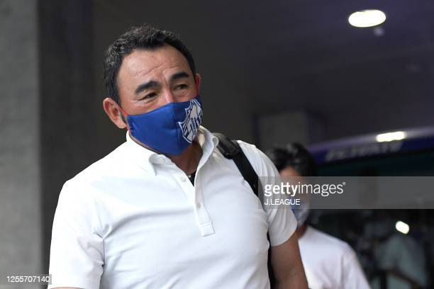 Head coach Kenta Hasegawa of FC Tokyo is seen on arrival at the stadium prior to the J.League Meiji Yasuda J1 match between Yokohama F.Marinos and FC...