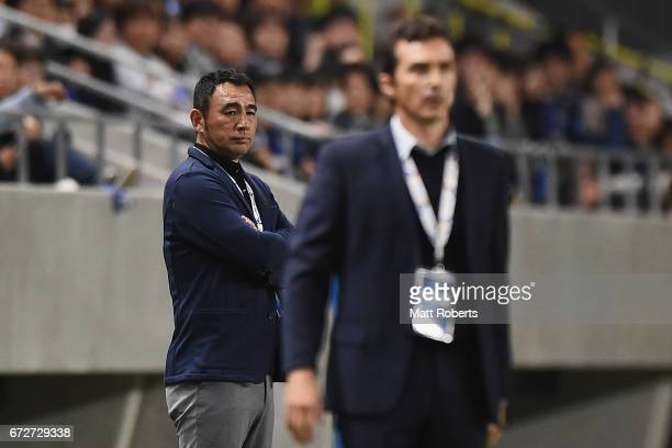 Head coach Kenta Hasegawa of Gamba Osaka looks on during the AFC Champions League Group H match between Gamba Osaka v Adelaide United at Suita City...