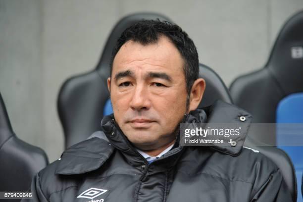 Head coach Kenta Hasegawa of Gamba Osaka looks on prior to the J.League J1 match between Gamba Osaka and Consadole Sapporo at Suita City Football...
