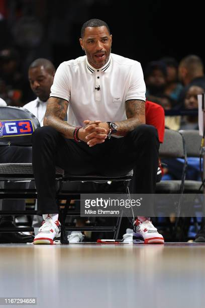 Head coach Kenyon Martin of Trilogy looks on against the Ghost Ballers during week eight of the BIG3 three on three basketball league at...