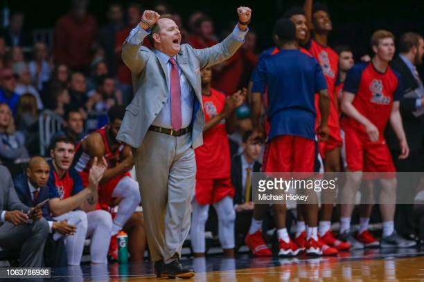 Head coach Kermit Davis of the Mississippi Rebels is seen during the game against the Butler Bulldogs at Hinkle Fieldhouse on November 16 2018 in...