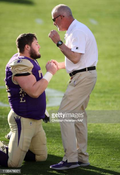 Head coach Kevin Coyle of the Atlanta Legends is seen on the field before the Alliance of American Football game against the Arizona Hotshots at Sun...