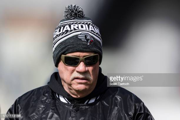 Head coach Kevin Gilbride of the NY Guardians looks on before the XFL game against the DC Defenders at Audi Field on February 15 2020 in Washington DC