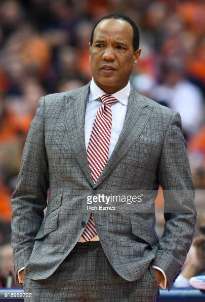Head coach Kevin Keatts of the North Carolina State Wolfpack looks on against the Syracuse Orange during the second half at the Carrier Dome on...