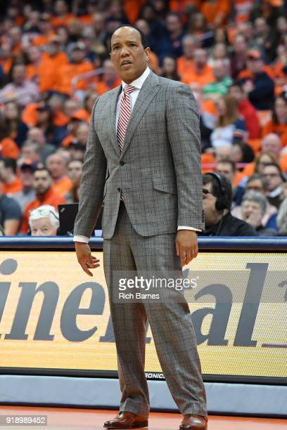 Head coach Kevin Keatts of the North Carolina State Wolfpack reacts to a play against the Syracuse Orange during the first half at the Carrier Dome...