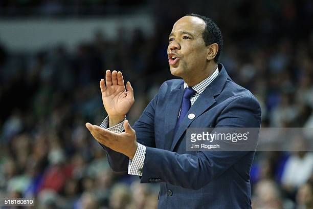 Head coach Kevin Keatts of the North CarolinaWilmington Seahawks reacts in the first half against the Duke Blue Devils during the first round of the...